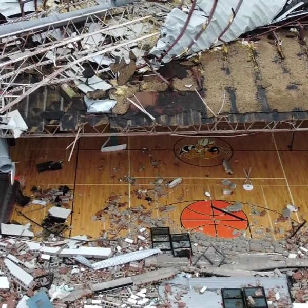 Drone video shows Jinks Middle School gym destroyed by Hurricane Michael