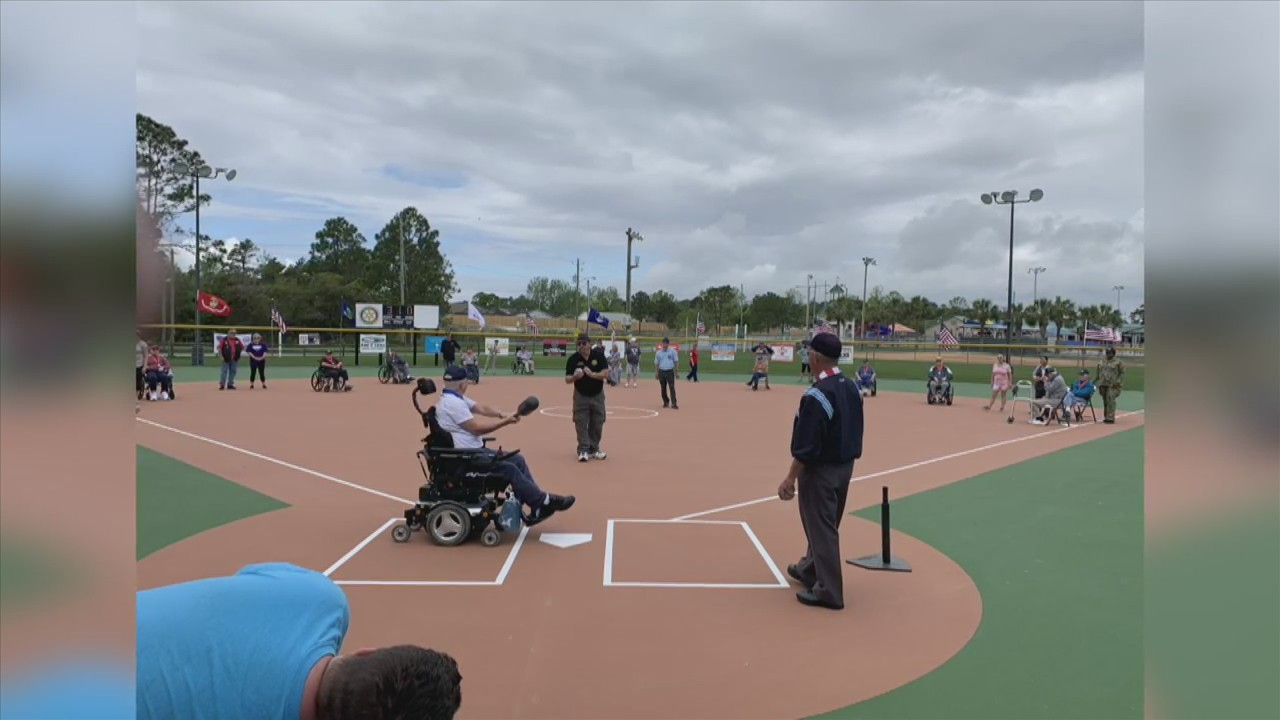 Miracle League Veterans baseball game played today at Frank Brown Park