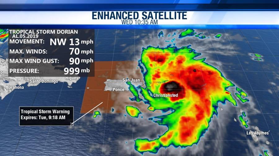 Dorian upgraded to a hurricane near Puerto Rico, Virgin