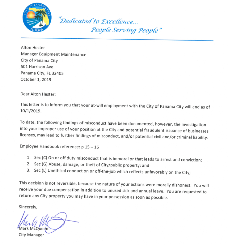 Termination Letter For Theft from www.mypanhandle.com