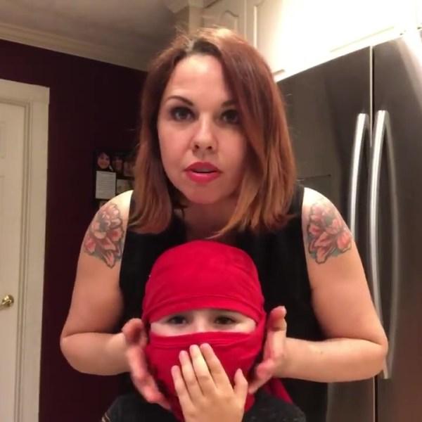 Mom makes ninja mask